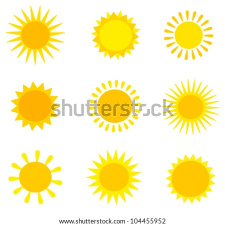 Sun collection. Vector illustration - stock vector