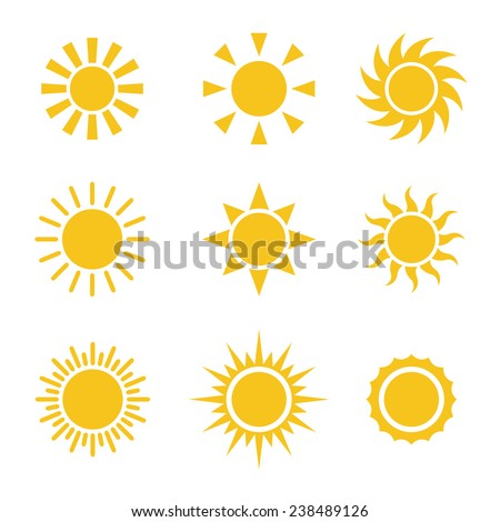 Sun Color Icons Set - stock vector