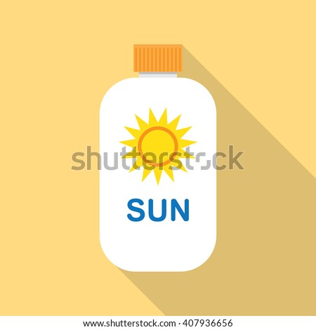 Sun Cream flat icon with long shadow - stock vector