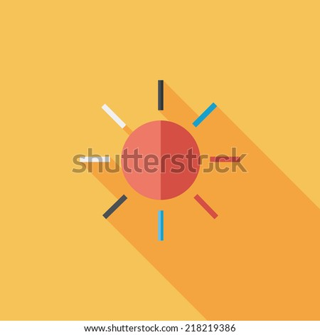 sun flat icon with long shadow - stock vector