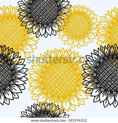 Sun flowers seamless background vector illustration - stock vector