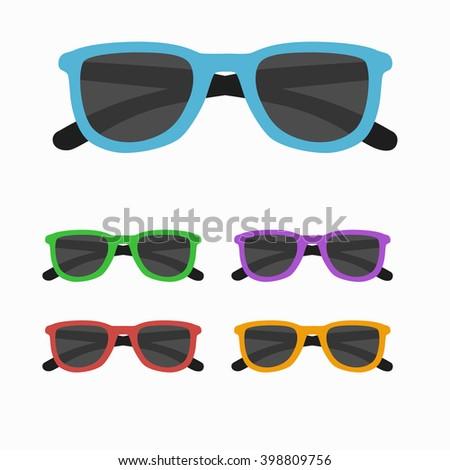 Sun glasses set vector illustration. Sun glasses  icon set  isolated. Sun glasses summer symbol. Sun glasses set for traveling design. Summer time vacation Sun glasses isolated icon  - stock vector