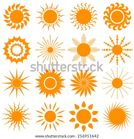 sun icon collection, elements for design, orange rays straight and twisted isolated on white background. vector illustration - stock vector