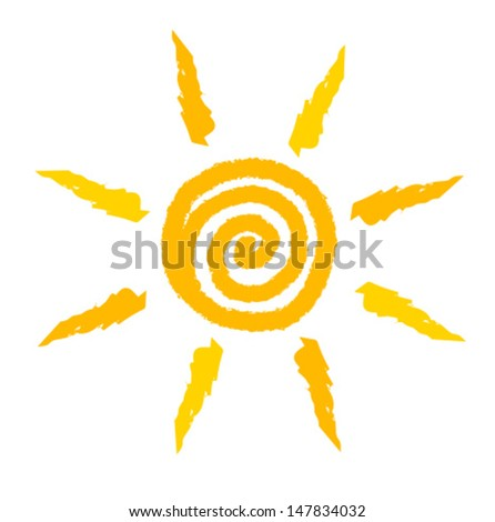 Sun icon painted . Vector illustration isolated on white background - stock vector