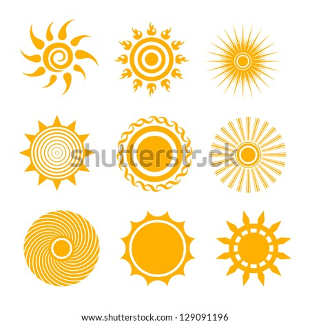 sun icon set - stock vector