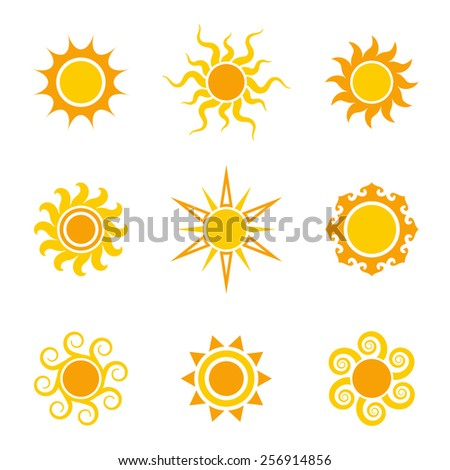 Sun icon set, vector illustration - stock vector