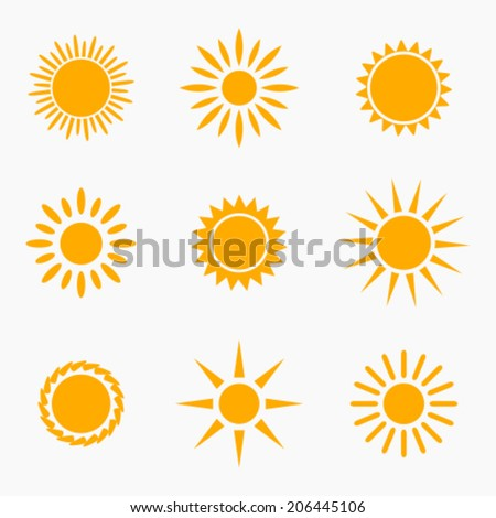 Sun icons or symbols collection. Vector illustration - stock vector