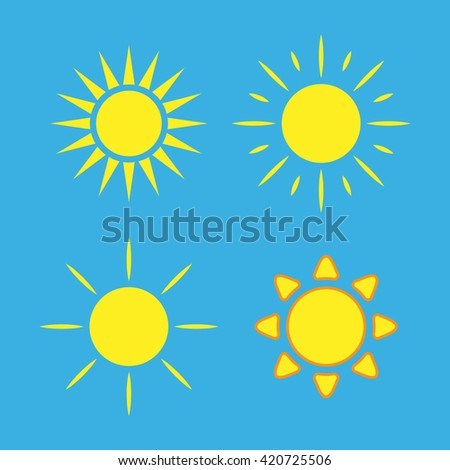 Sun icons set. Collection light yellow signs with sunbeam. Design elements, isolated on blue background. Symbol of sunrise, heat, sunny and sunset, morning, sunlight. Flat style. Vector Illustration. - stock vector