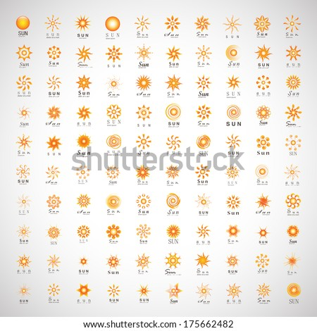 Sun Icons Set - Isolated On Gray Background - Vector Illustration, Graphic Design Editable For Your Design - stock vector