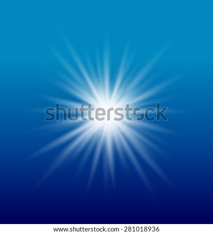 Sun light on blue sky vector element background template - stock vector