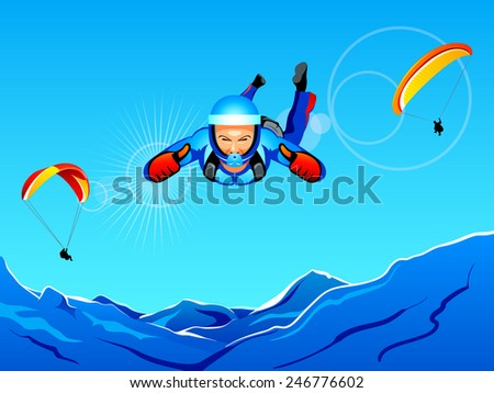 Sun-lighted mountain sky-diving and paragliding - stock vector