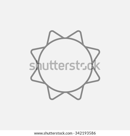 Sun line icon for web, mobile and infographics. Vector dark grey icon isolated on light grey background. - stock vector