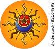 Sun, Moon, star, abstract design - stock vector