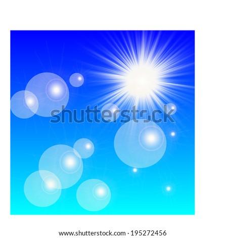Sun on a blue sky - stock vector