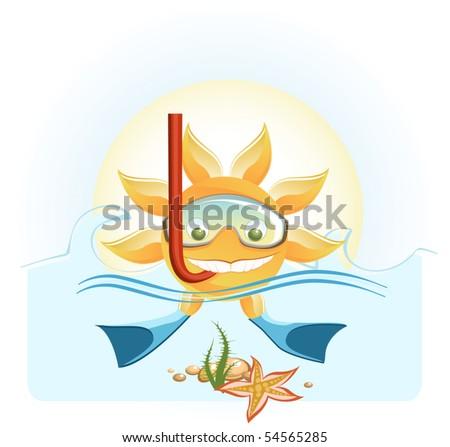 sun on a vacation - stock vector