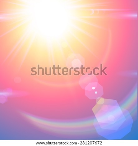Sun on sky with lenses flare - vector illustration.
