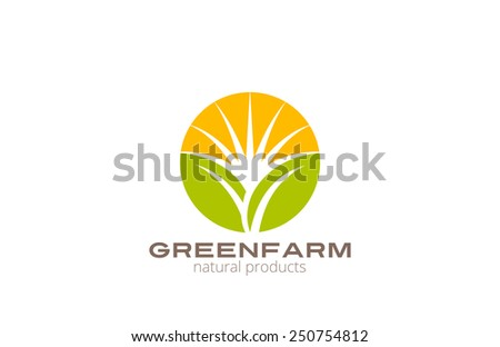 Sun over Abstract Plant Logo Farm design vector template circle shape. Natural Organic Fresh products Logotype concept icon. - stock vector