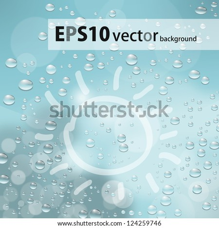 sun painted on glass with drops - stock vector