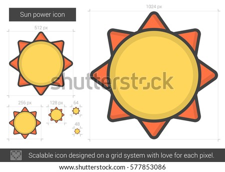 Sun power vector line icon isolated on white background. Sun power line icon for infographic, website or app. Scalable icon designed on a grid system.