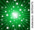 Sun Rays and Stars - Green Abstract Background Illustration - stock vector
