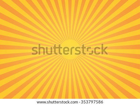 Sun rays, sunburst on orange color background. Vector illustration design.