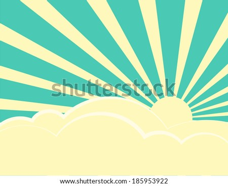 Sun rays with yellow and green retro color behind the clouds,Vector illustration
