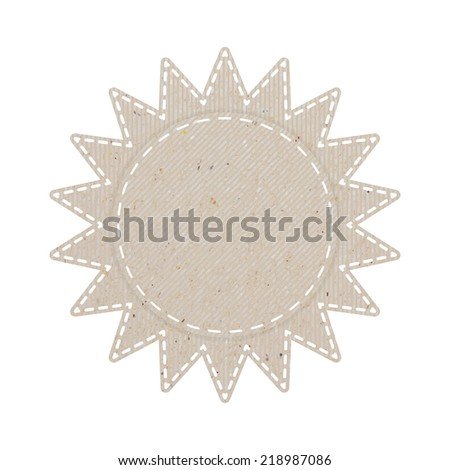 sun recycled paper craft on white paper background, vector illustration   - stock vector
