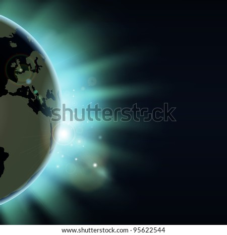 Sun rising over the world globe. Europe and Africa showing. - stock vector