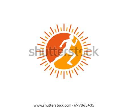 Sun Run Icon Logo Design Element Stock Vector 699865435 Shutterstock