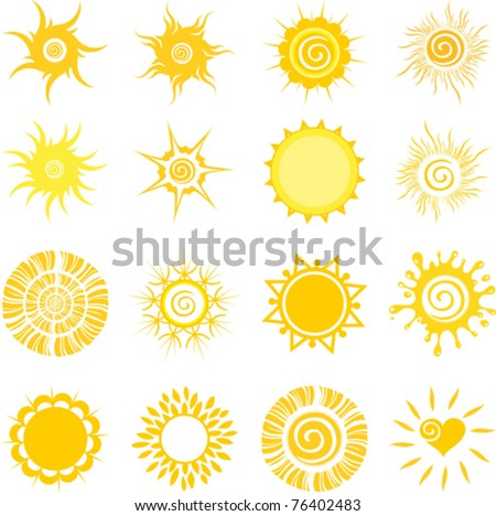 sun set isolated on White background. Vector illustration - stock vector