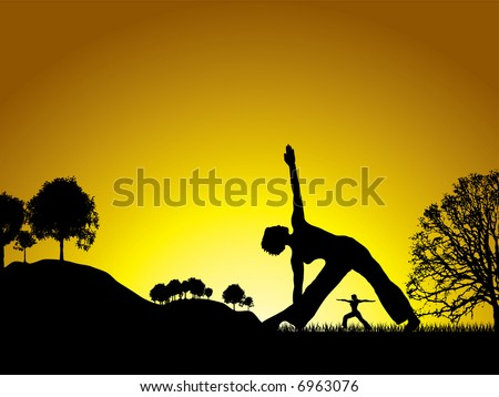 sun setting on a yoga session in the middle of a natural wonderland - stock vector
