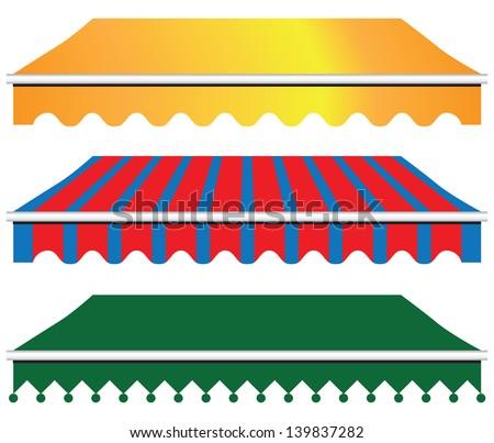 Sun Shade Awning in three versions. Vector illustration. - stock vector
