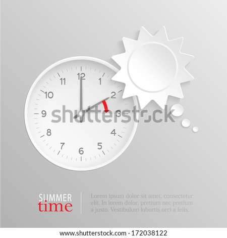 Sun shaped speech bubble and vector clock with hands at 2 o'clock and an red arrow symbolizing the hour forward to 3 o'clock for the change of time in spring for daylight savings on silver background. - stock vector