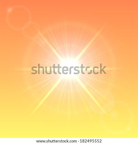 Sun shining in a clear orange sky, illustration.