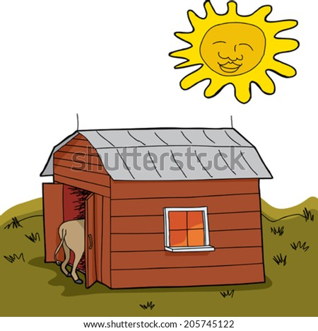 Sun shining over hot animal in barn during drought - stock vector