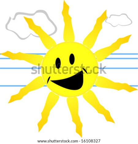 Sun smiling with rays and clouds - stock vector