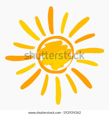 Sun symbol painted. Vector illustration - stock vector