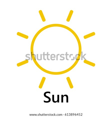 Sun Symbol Rotate Yellow Text On Stock Vector 613896452 Shutterstock