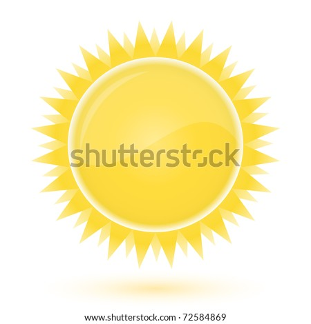 Sun. Weather forecast glossy icon - stock vector