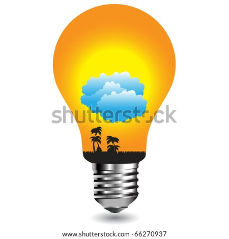 Sun with clouds in the bulb.Vector - stock vector