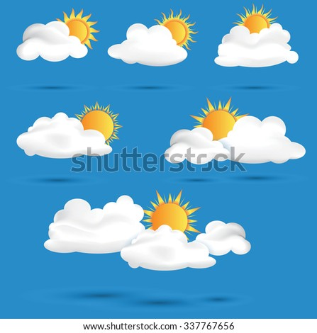 Sun with clouds on blue sky background vector eps10