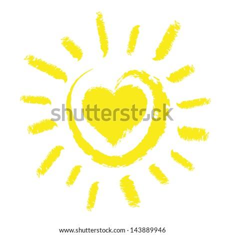 Sun with heart - stock vector