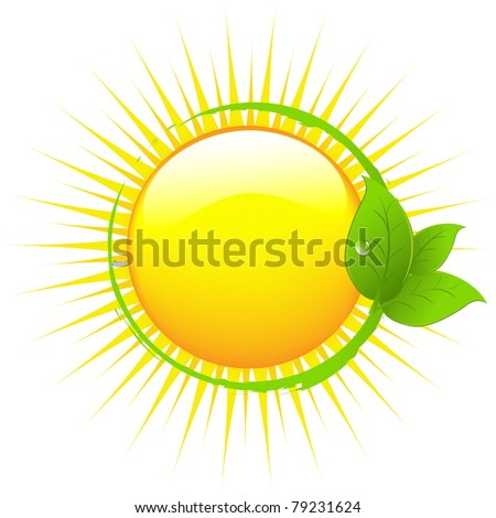 Sun With Leafs, Isolated On White Background, Vector Illustration - stock vector