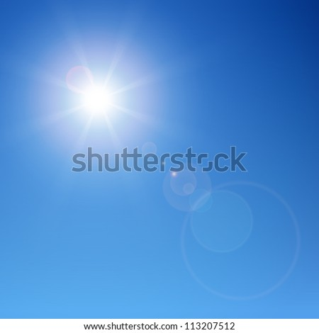 Sun with lens flare - stock vector