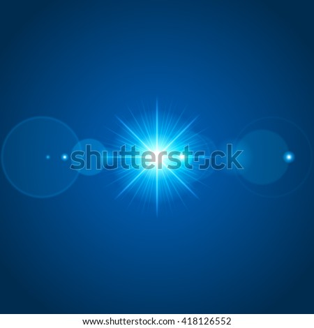 Sun with lens flare lights template and vector background. Special Effect Glowing Rays. - stock vector