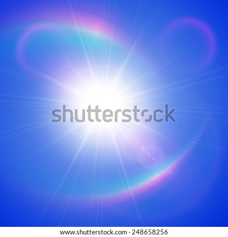 Sun with lens flare, rainbow effect, vector background. - stock vector