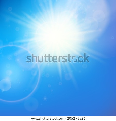 Sun with lens flare template. EPS10 - stock vector