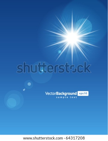 Sun with lens flare vector background - stock vector