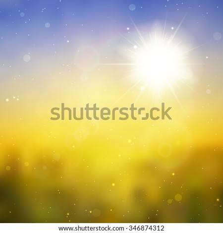 Sun with lens flare, vector background eps 10 - stock vector