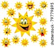 sun with many expressions - stock vector